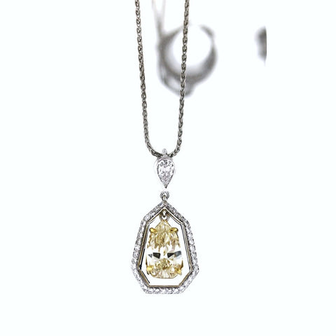 .24ct Fancy Yellow Pear Shape Diamond, 37 Round Brilliant Diamonds = .37 ct, on wheat chain, Platinum and 18K Gold GDI3697