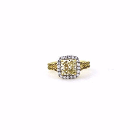Cushion Cut Diamond = 2.01 ct Fancy Yellow Light SI2 and 76 Round Brilliant = .61 cts, 18K Yellow Gold Ring GIA # 1156462293 FC2321 LR0688