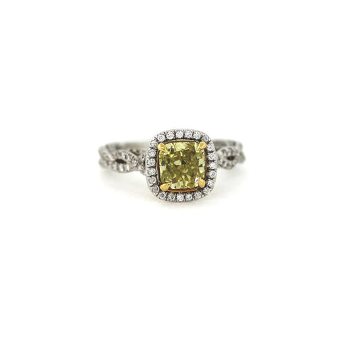 Radiant Cut Diamond = 2.04 ct Fancy Greenish Yellow and 151 Round Brilliant Diamonds = .62 cts, Two Tone 18K Gold Ring GIA # 1152119206 FC2266 LR0798