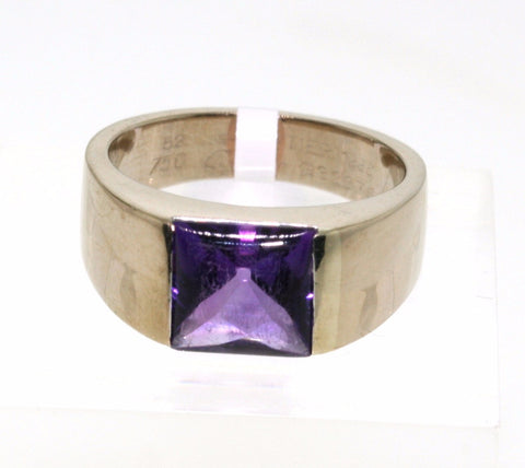 Estate Cartier Amethyst Stamped 52 G32379 18K White Gold Lady's Ring LR0889