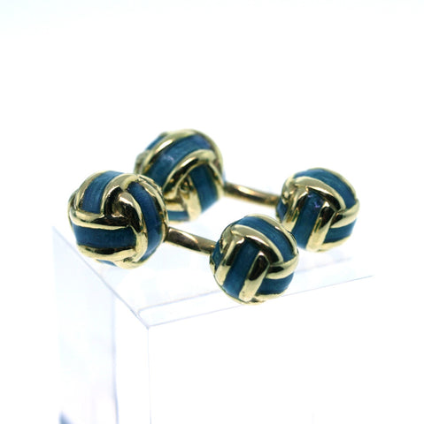 Estate Green Enamel Knots 18K White Gold Cufflinks 17g MISC0207