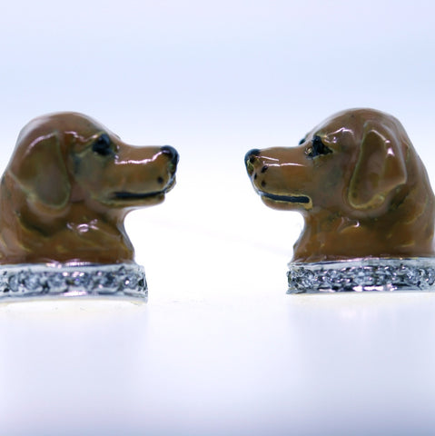Estate Sol Basha Diamond Polychrome Enamel Golden Retriever 18K Yellow GoldCufflinks 7.71gr MISC0213
