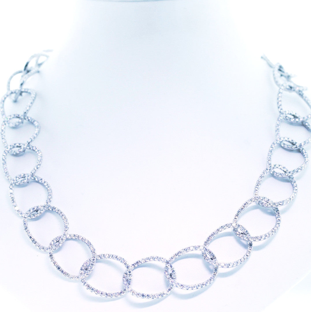 448 Round Brilliant = 9.98cts Open Link 18K White Gold Necklace NK1461