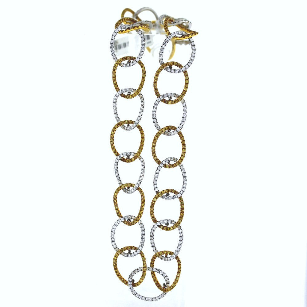"387 Round Brilliant = 8.82 390 Fancy Yellow = 7.41 17"" 42.1gr Open Link Two Tone 18K Gold Necklace NK1534"