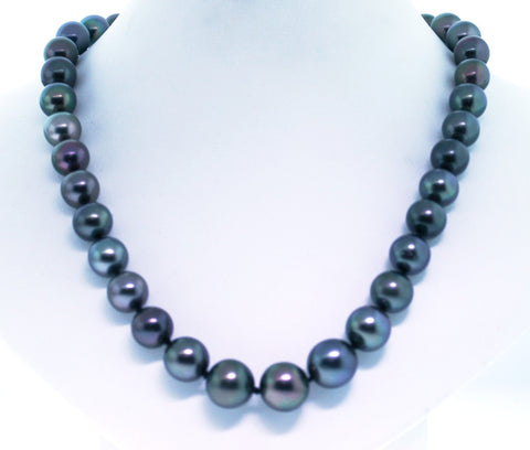 Tahitian Pearls 10-13mm Black 14K Yellow Gold Necklace NK1673