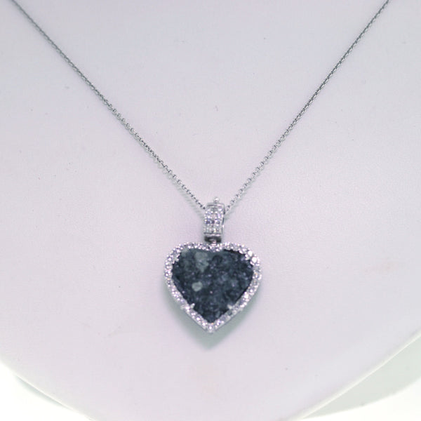 Estate 84 Round Brilliant = .91ct 2.28gr 1 Heart Shape = 13.43cts 18K White Gold Necklace NK1752