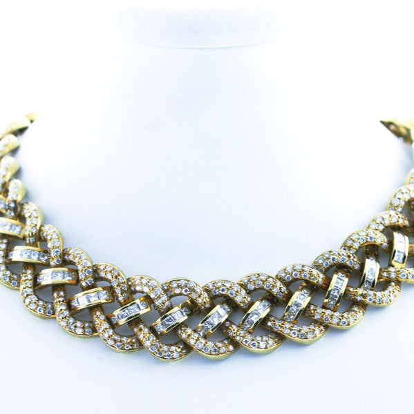 Estate Baguette & Rounds 20ctw 136.1gr Braid 18K Yellow Gold Necklace NKX0001