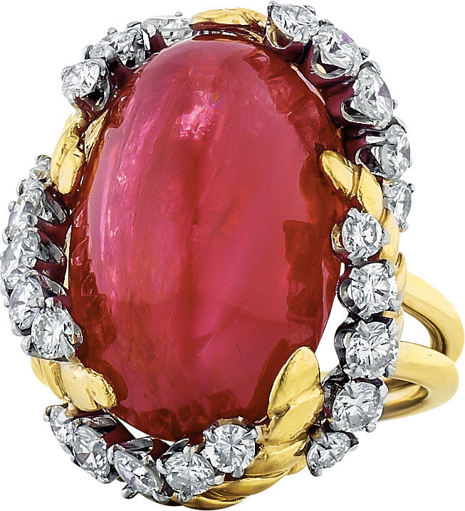 Estate Van Cleef & Arpels Cabochon Ruby 19.7x14.30x9.90 signed 39577, 18.1g 18K Yellow Gold Lady's Ring LRX0235