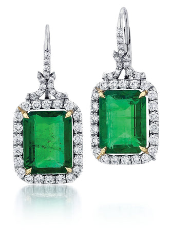 Estate 2 Emerald Cut Emerald = 11.20tw Diamond = 2.00tw Leverback 9.78g Platinum Earrings ER3096