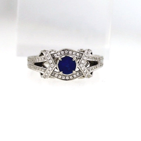 140 Round Brilliant = 1.50ct 1 Round Brilliant Sapphire = .75 4.91gr 18K White Gold Lady's Ring SMNT1182