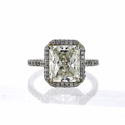 Radiant Cut Diaond 4.73 ct J VS1 and 86 Round Brilliant = 0.91ct G VS2, Platinum Ring GIA # 2141170356 D14567 SMNT1401