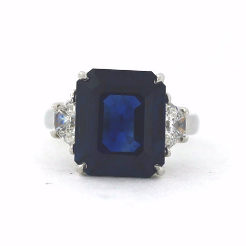 2 Trapezoid Diamonds = 1.00ct H SI1 11.29 Thai Sapphire AGL = CS 45868 Platinum Lady's Ring SMNT1828, GEMX006