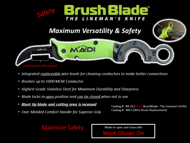 MADI Safety BrushBlade - The Lineman's Knife (95-BB2S)