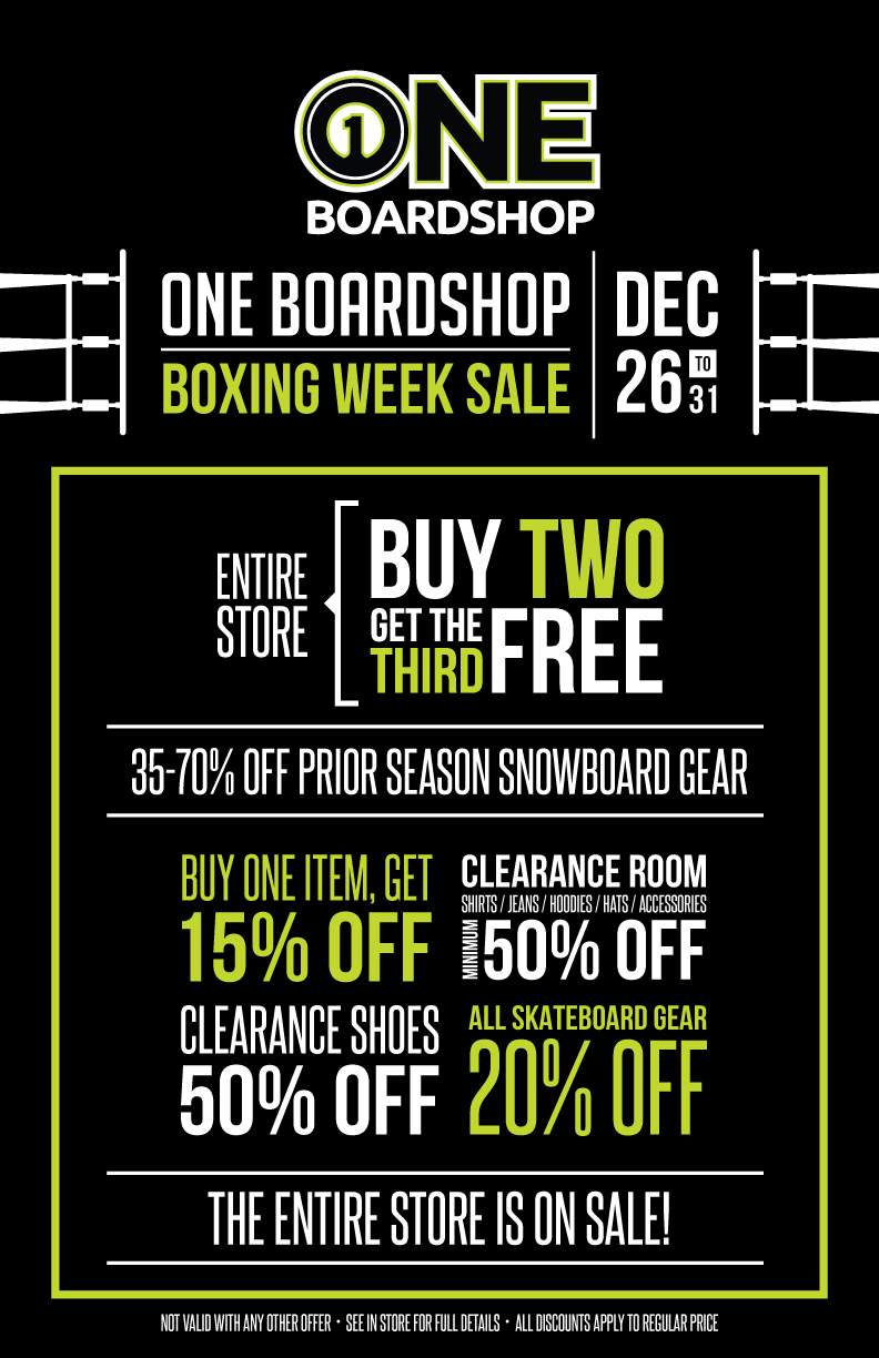 ONE Boardshop Boxing Week Sale 2017