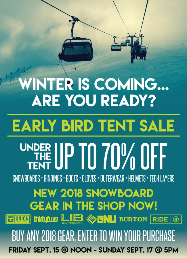ONE Boardshop Kelowna Early Bird Tent Sale