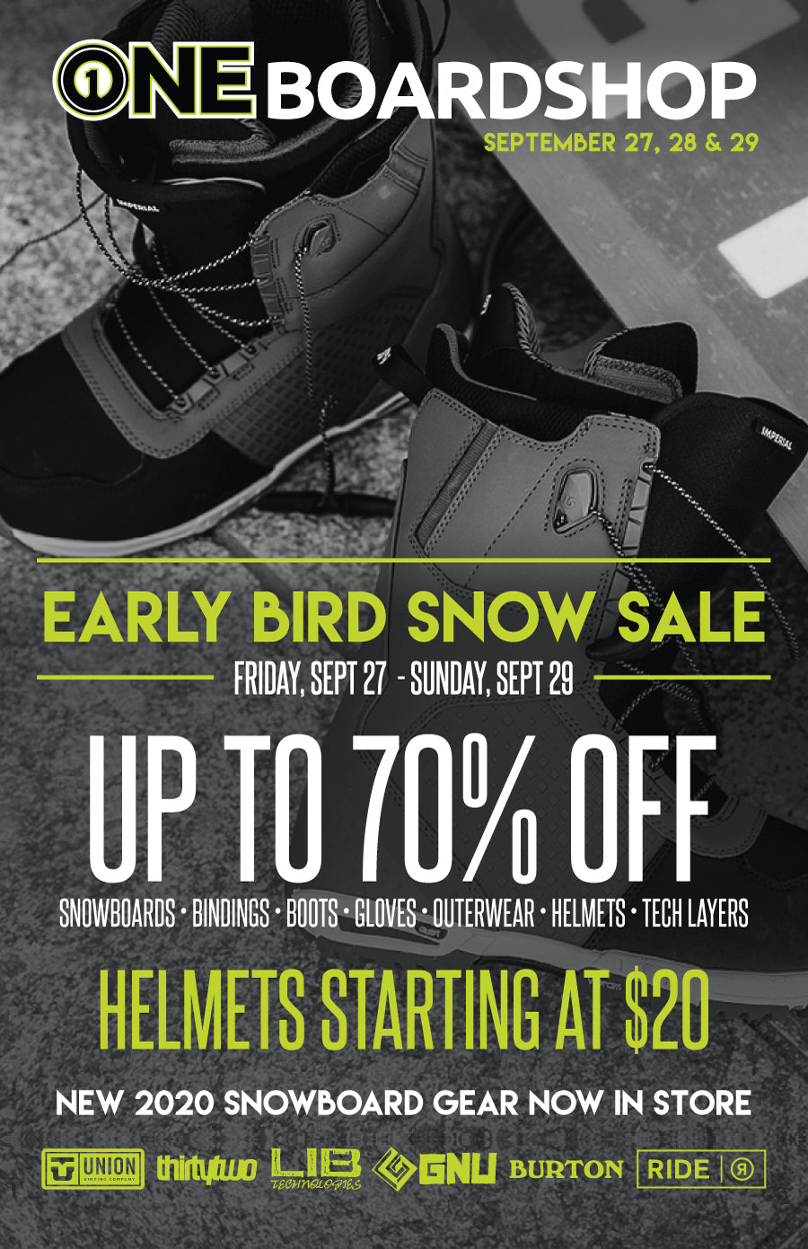 ONE Boardshop Prince George Early Bird Sale