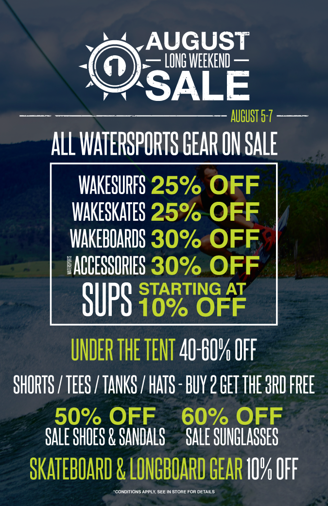 ONE Boardshop August Long Weekend Sale