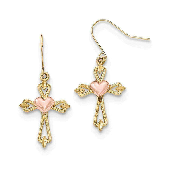 Gold dangle earrings - 10 Karat Two-tone Diamond Cut Textured Heart Cross Dangle Earrings.
