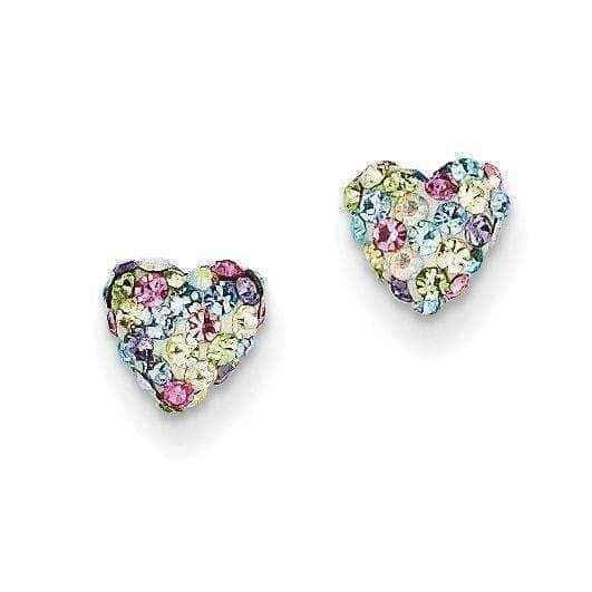 Heart Post Earrings - 14k Pastel Multi-colored Crystal 6mm.