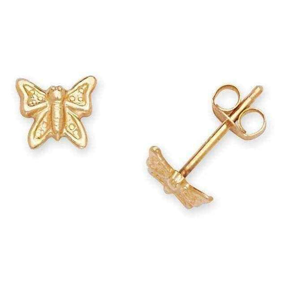 3b9293291 Gold butterfly earrings studs - 14k Yellow Gold Children's Small Butterfly  Stamping Stud Earrings
