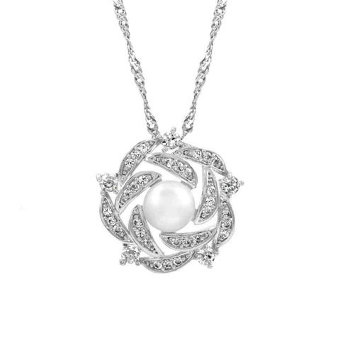Bridal Jewelry  |  CZ & Pearl Necklace