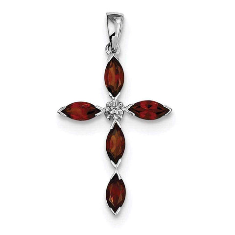 Diamond Cross Pendant | Rhodium Garnet