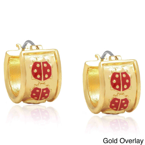 Ladybug hoop earrings