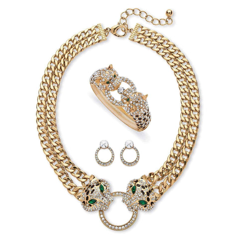 Leopard Necklace, Earrings and Bangle Set