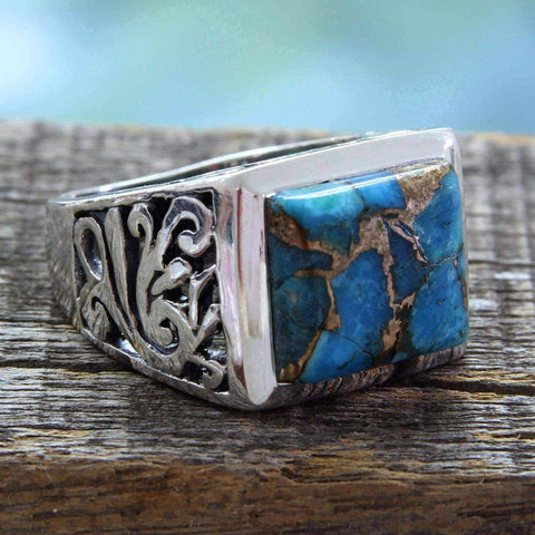 Sterling silver turquoise rings - Handmade Ring