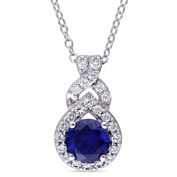 White and Blue Sapphire Necklace