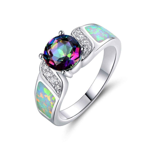 White fire opal engagement rings