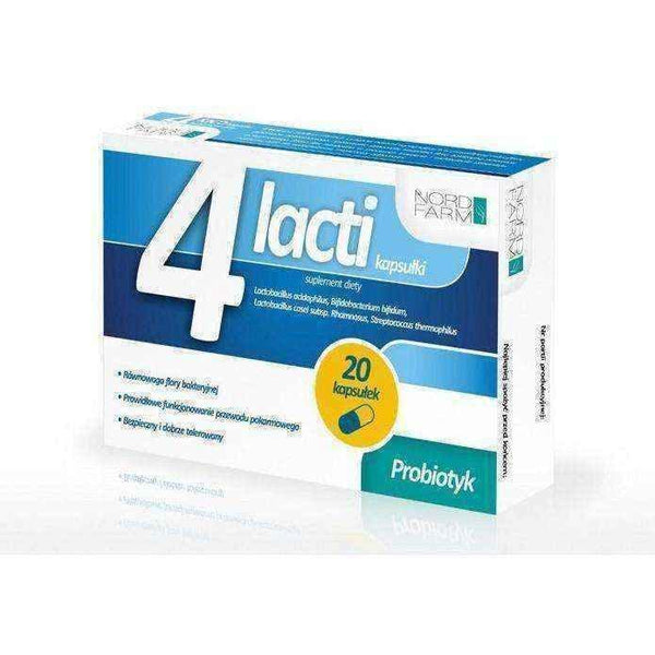4 LACTI x 20 capsules, Probiotics after antibiotics - ELIVERA UK, Reviews, Buy Online