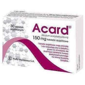 ACARD 150mg x 60 tablets reduces blood clotting, indicated in ischemic heart disease - ELIVERA UK USA BUY, PRICE, REVIEWS