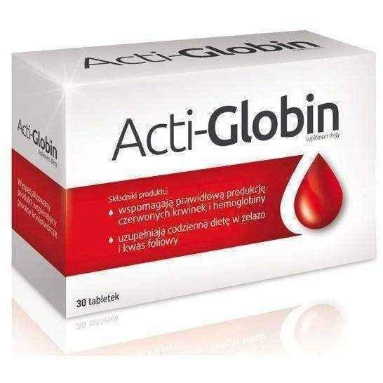 ACTI-globin x 30 tablets is rich in iron, zinc and vitamin preparation UK