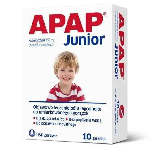 APAP Junior sachets x 10, for children over 4 years of age UK