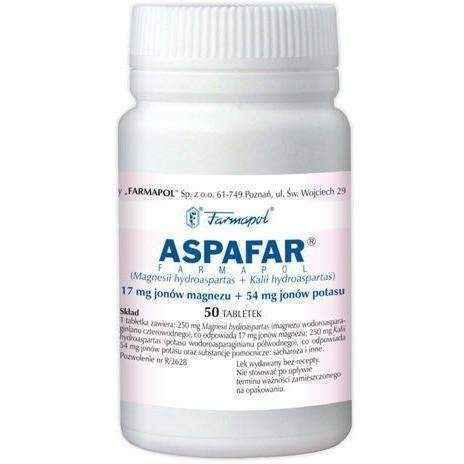 ASPAFAR x 50 tablets, magnesium and potassium