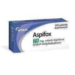 ASPIFOX 75mg x 100 tablets ASPIFOX is responsible for the preparation block platelet thrombosis, blood clot