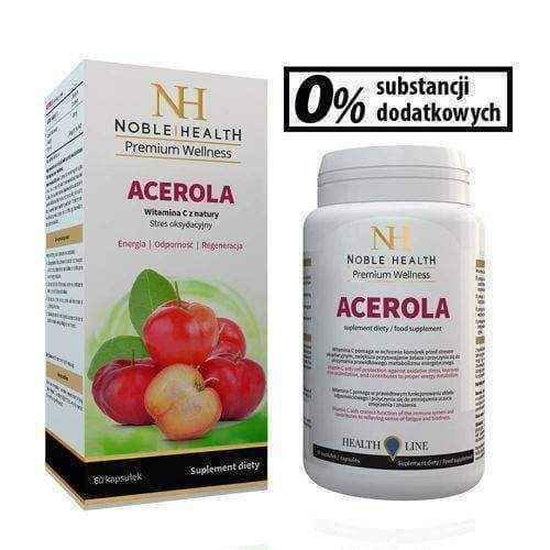 Acerola Noble Health x 60 capsules, acerola fruit extract - ELIVERA UK, Reviews, Buy Online