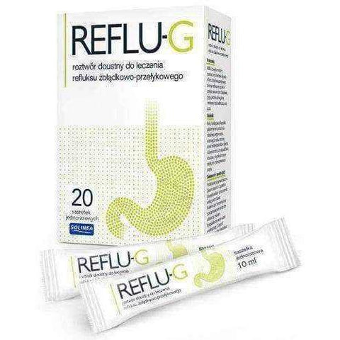 Acid reflux, Reflu-g x 20 sachets - ELIVERA UK, England, Britain, Review, Buy