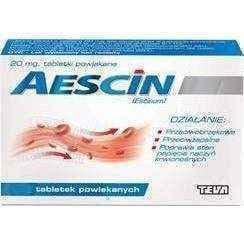 Aescin 20mg x 30 tablets treatment of edema, post-traumatic hematoma - ELIVERA UK, Reviews, Buy Online