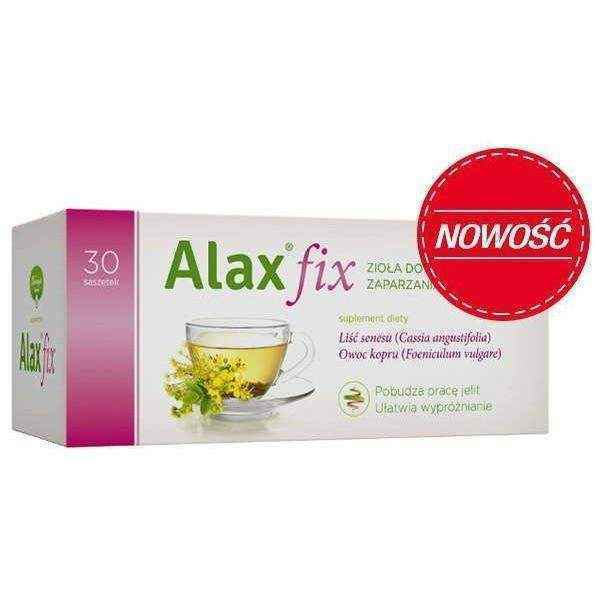 Alax fix x 20 sachets senna leaves and fruits of fennel.