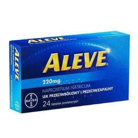 Aleve x 24 tablets, analgesic, antipyretic, lower back pain - ELIVERA UK, England, Britain, Review, Buy