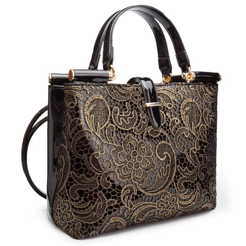 Handbags uk | Women's Metallic Handbag | Black/Gold