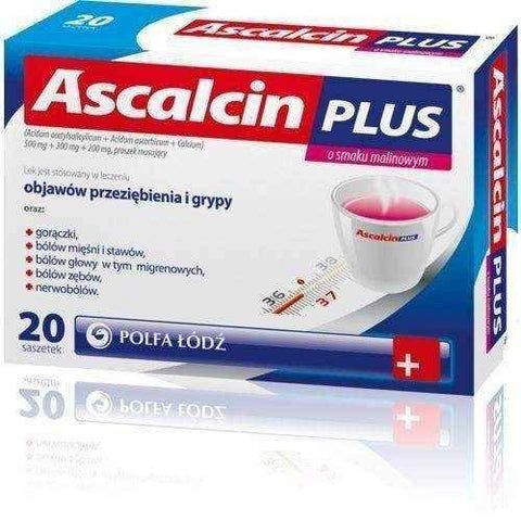 Ascalcin Plus raspberry flavor x 20 sachets, acetylsalicylic acid, analgesic UK