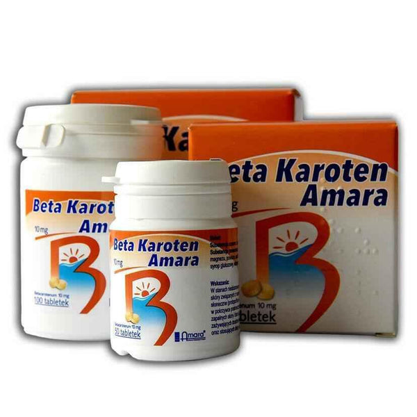 Beta-carotene, BETA KAROTEN 10mg x 50 tablets.