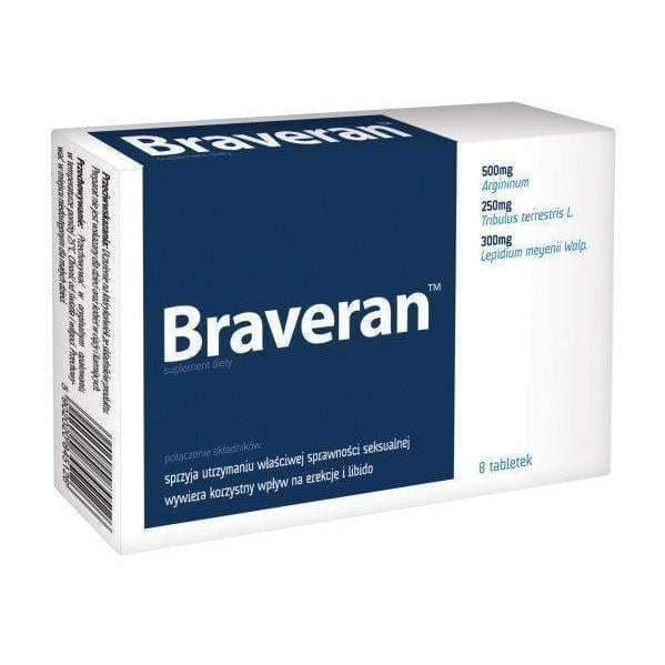BRAVERAN x 8 tablets- positive effect on erection, men with erections UK