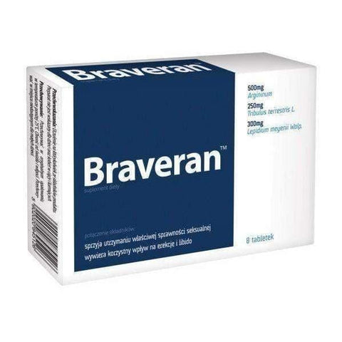 BRAVERAN x 8 tablets- positive effect on erection, men with erections