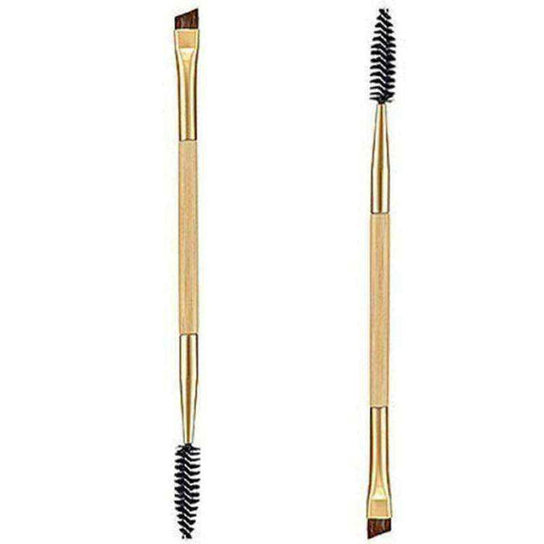 Eyebrow brush Bamboo Handle Dual-head + Eyebrow Comb Makeup Brush Golden