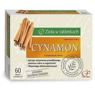 CINNAMON x 60 tablets allows diabetics reduce the concentration of glucose, cinnamon supplements UK