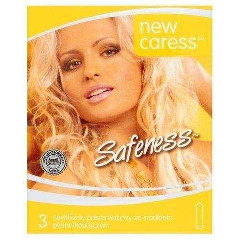 Caress safeness Condoms lubricated with spermicide x 3 pieces